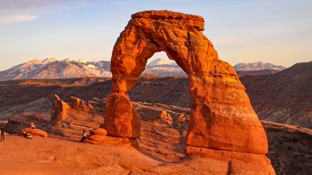 The delicate arch at sunset in Arches National Park