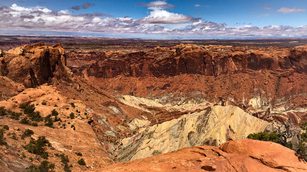 A shot of the massive crater at Upheaval Dome in Canyonlands National Park